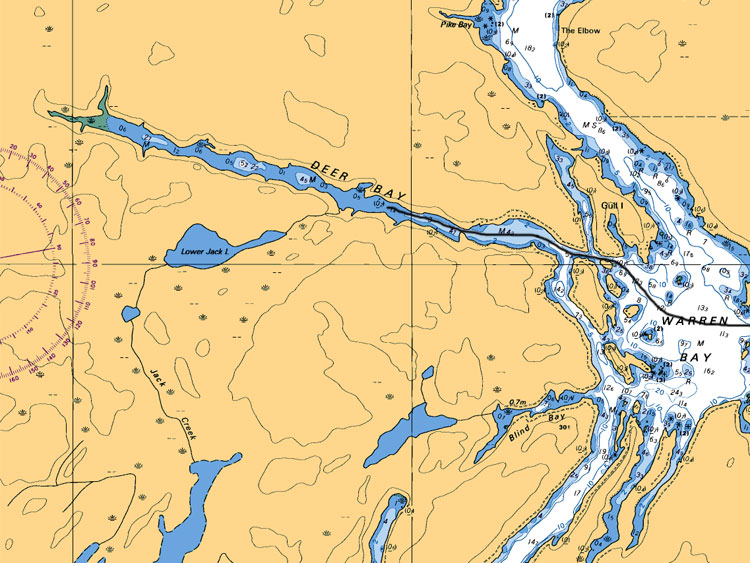Warren Bay to Deer Bay Map