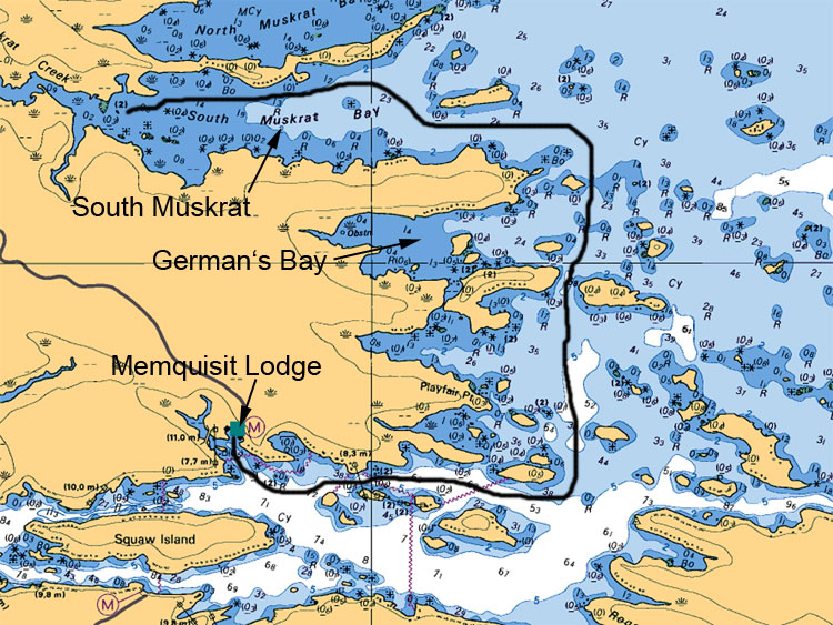 German's Bay to South Muskrat Map